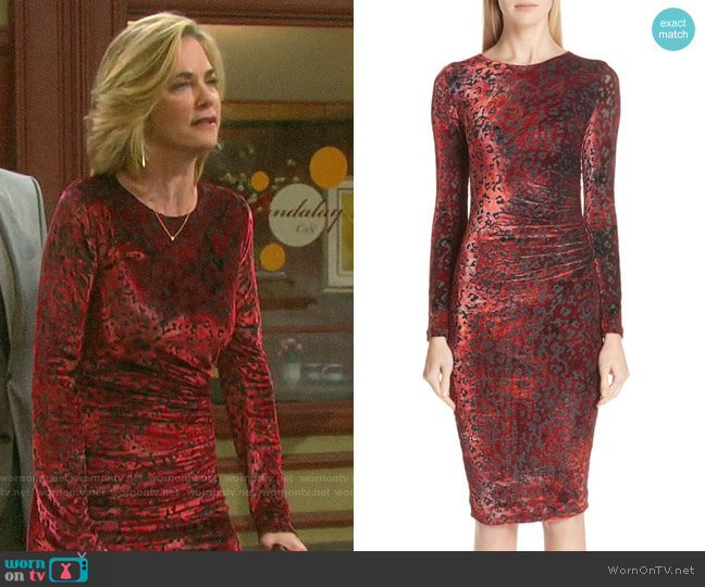 Fuzzi Leopard Burnout Velvet Dress worn by Eve Donovan (Kassie DePaiva) on Days of our Lives
