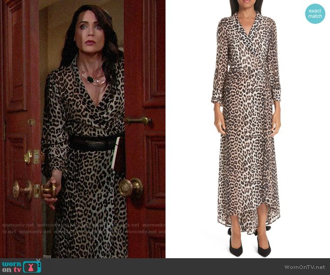 Ganni Print Georgette Dress worn by Quinn Fuller (Rena Sofer) on The Bold & the Beautiful