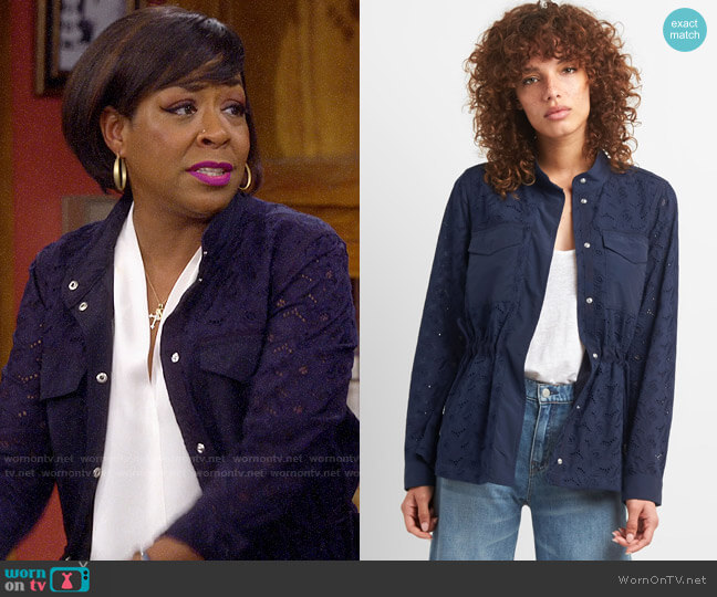 Gap Floral Eyelet Utility Jacket worn by Tina (Tichina Arnold) on The Neighborhood