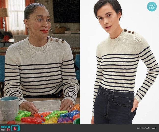 Gap Stripe Button-Shoulder Pullover Sweater worn by Rainbow Johnson (Tracee Ellis Ross) on Blackish