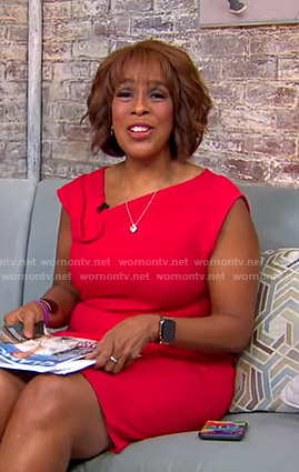 Gayle's red asymmetric neck dress on CBS This Morning