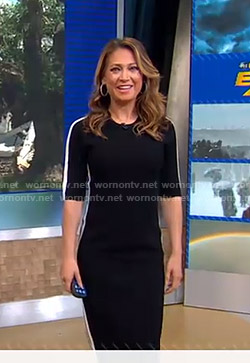 Ginger's black side stripe dress on Good Morning America