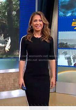 Ginger's black side stripe dress on Good Morning America