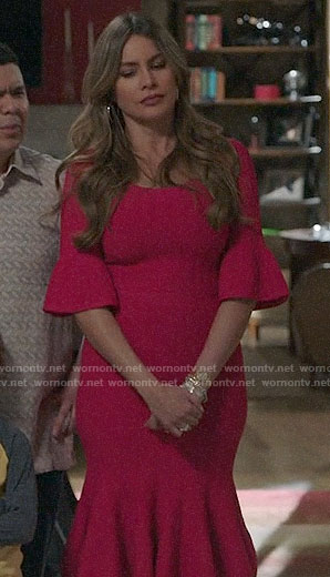 Gloria's red bell sleeve dress on Modern Family