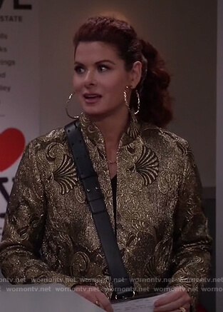 Grace's gold metallic coat on Will and Grace