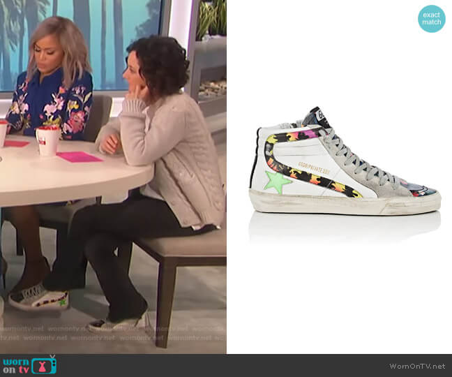 Slide Sneakers by Golden Goose  worn by Sara Gilbert  on The Talk