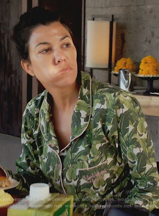 Kourtney's green leaf print pajamas on Keeping Up with the Kardashians