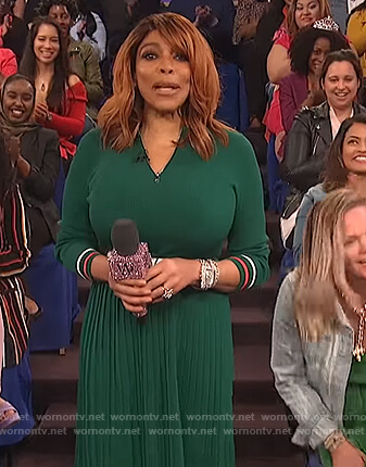 Wendy's green pleated dress on The Wendy Williams Show