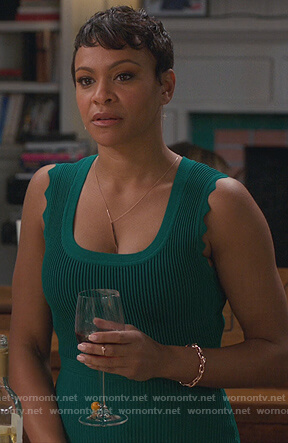 Angela's green ribbed dress on American Housewife