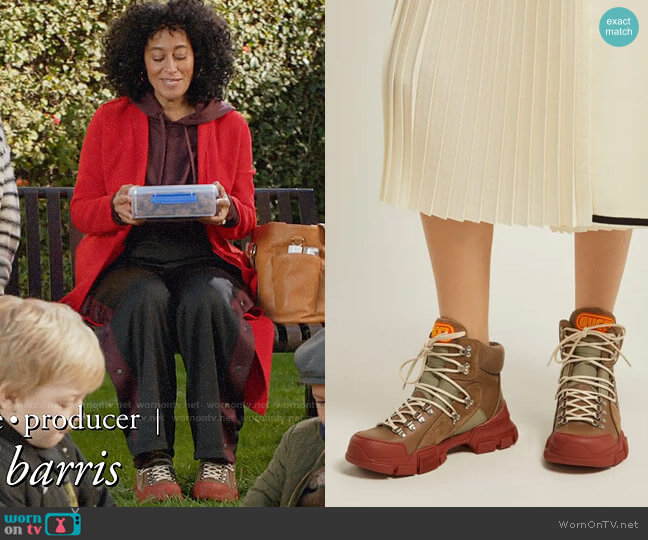 Gucci Flashtrek leather high-top trainers worn by Rainbow Johnson (Tracee Ellis Ross) on Blackish