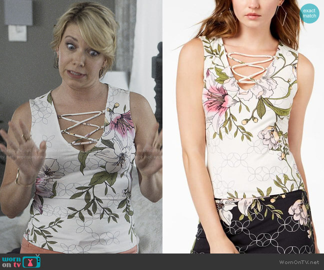 Guess Floral Strappy Top worn by Lisa Palmer (Mary Elizabeth Ellis) on Santa Clarita Diet