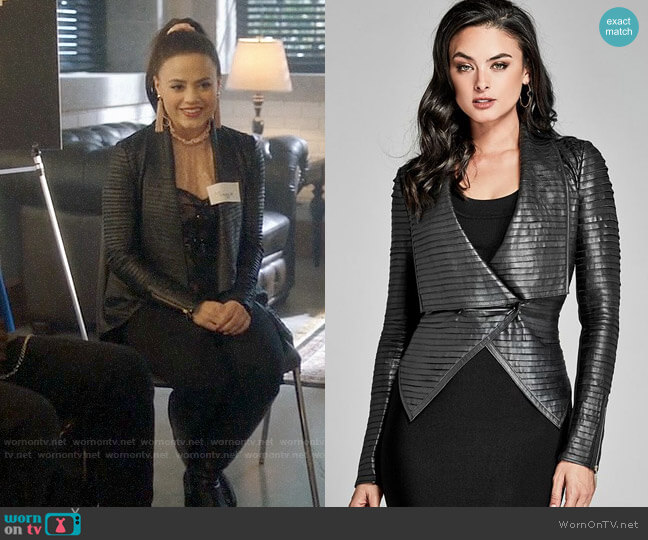 Guess Shayna Leather Jacket worn by Maggie Vera (Sarah Jeffery) on Charmed