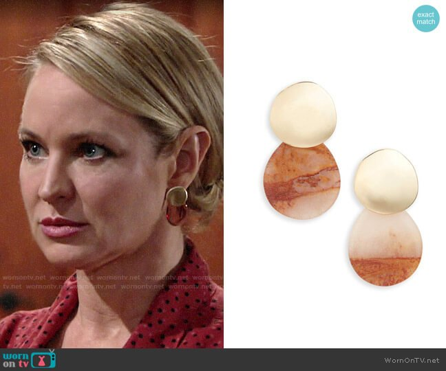 Halogen Drop Earrings worn by Sharon Collins (Sharon Case) on The Young & the Restless