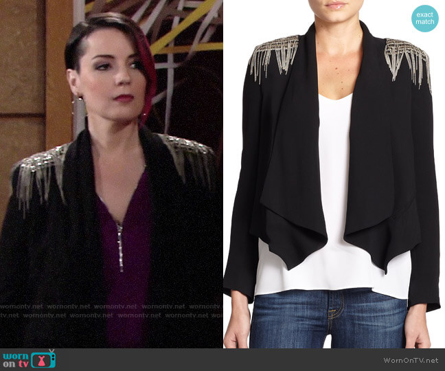 Haute Hippie Chain Fringe Trim Blazer worn by Sinead on The Young and the Restless