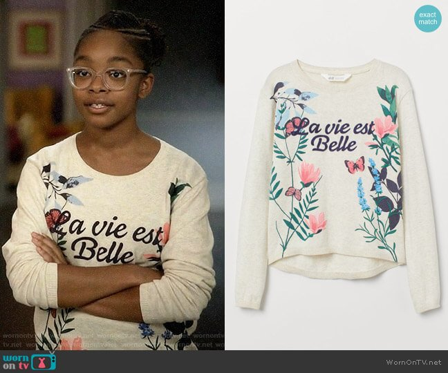 H&M Fine-knit Patterned Sweater worn by Diane Johnson (Marsai Martin) on Blackish