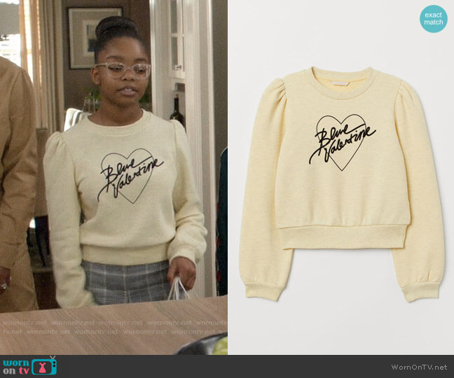 H&M Flock Print Sweatshirt worn by Diane Johnson (Marsai Martin) on Blackish