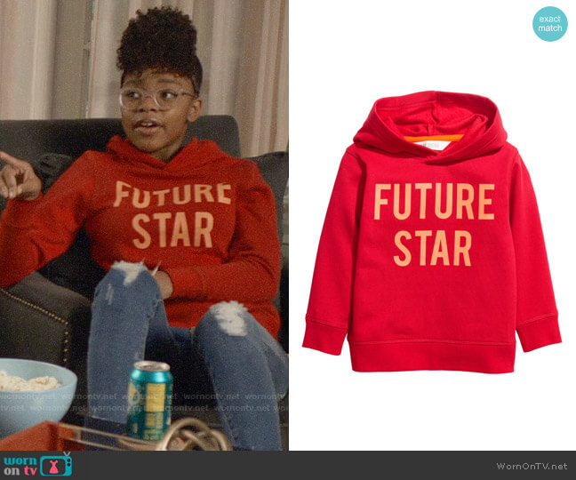 H&M Hooded top with a motif worn by Diane Johnson (Marsai Martin) on Blackish