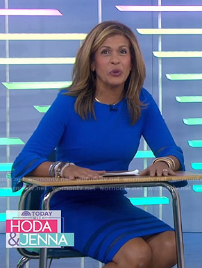 Hoda's blue mesh inset bell sleeve dress on Today
