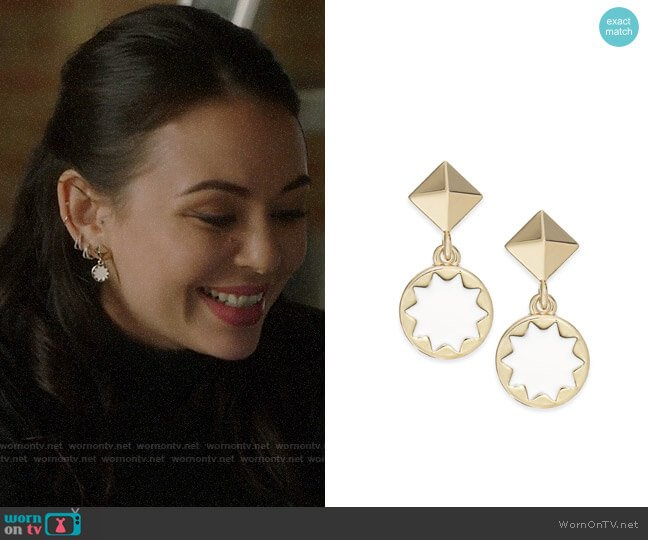 House of Harlow Sunburst Drop Earrings worn by Mona Vanderwaal (Janel Parrish) on PLL The Perfectionists