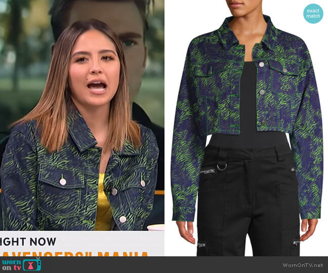 Sinead Tiger Cropped Trucker Jacket by I AM GIA worn by Erin Lim  on E! News