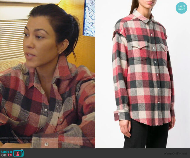 checked button-down shirt by IRO worn by Kourtney Kardashian  on Keeping Up with the Kardashians