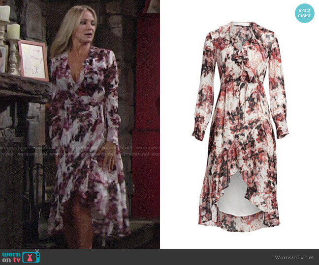 IRO Garden Ruffle Wrap Dress worn by Sharon Collins (Sharon Case) on The Young & the Restless
