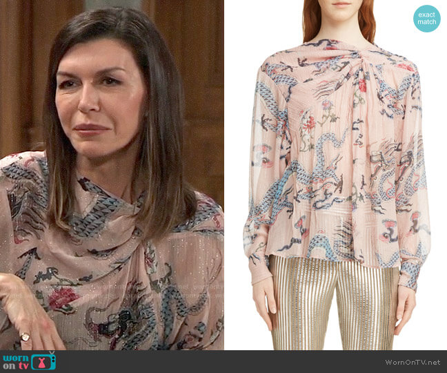 14077017935bf WornOnTV  Anna s pink dragon print blouse on General Hospital ...