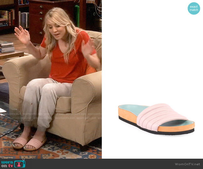 Isabel Marant Hellea Slide Sandals worn by Penny Hofstadter (Kaley Cuoco) on The Big Bang Theory