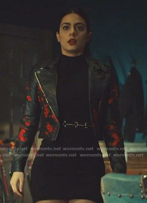 Isabelle's black floral embroidered moto jacket on Shadowhunters