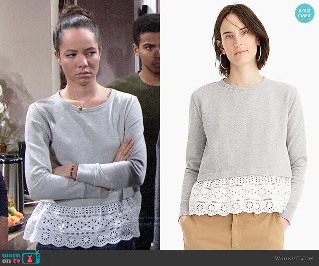 J. Crew Eyelet-hem sweatshirt worn by Mattie Ashby (Lexie Stevenson) on The Young & the Restless
