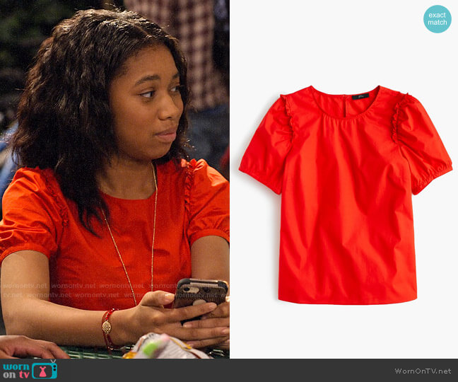 J. Crew Puff-sleeve top in cotton poplin worn by Becky (Kyla-Drew) on No Good Nick