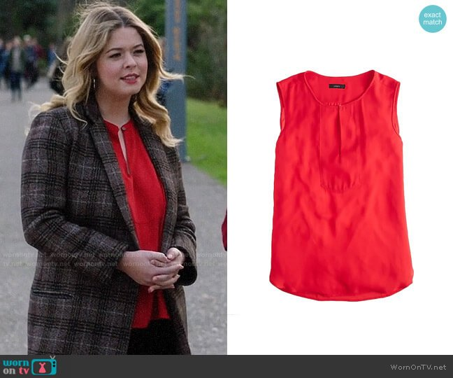 J. Crew Drapey Keyhole Top worn by Alison DiLaurentis (Sasha Pieterse) on PLL The Perfectionists