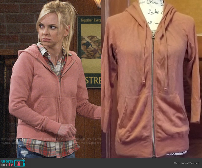 James Perse Classic Zip Up Hoodie worn by Christy Plunkett (Anna Faris) on Mom