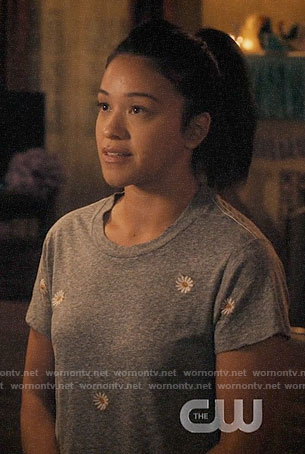 Jane's grey embroidered daisy tee on Jane the Virgin