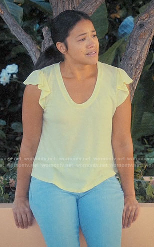 fe713a5c5d3923 Jane s yellow flutter sleeve tee on Jane the Virgin