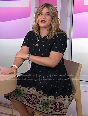 Jenna's black floral knitted dress on Today