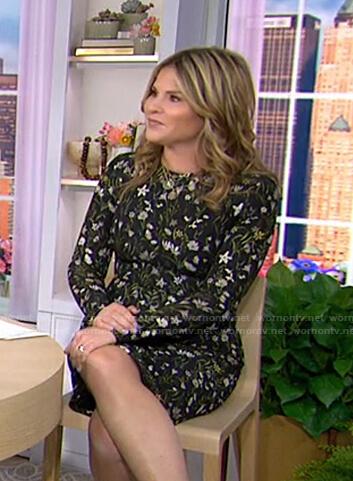 Jenna's black floral long sleeve dress on Today