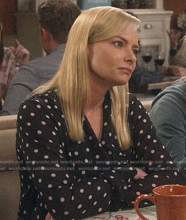 Jill's polka dot blouse on Mom