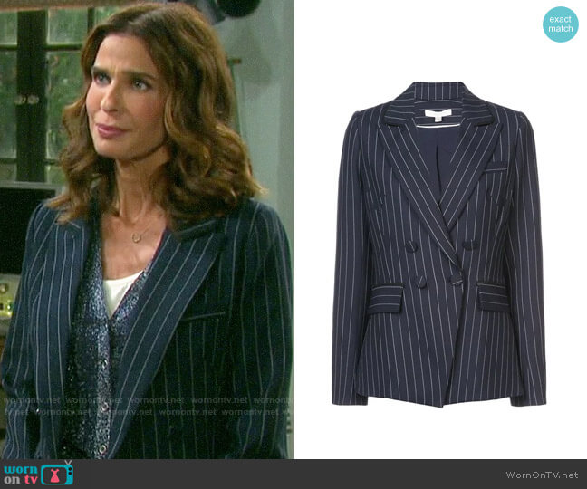 Jonathan Simkhai Pinstripes Structured Blazer worn by Hope Williams (Kristian Alfonso) on Days of our Lives