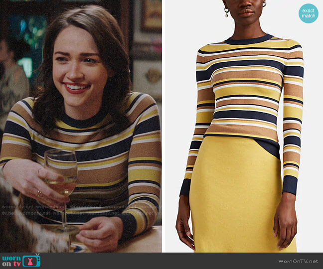 JoosTricot Striped Stretch Cotton Sweater worn by Cara Bloom (Violett Beane) on God Friended Me
