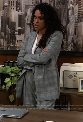 Jordan's grey plaid suit with yellow cuffs on General Hospital