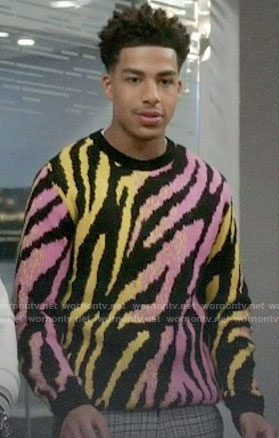 Junior's pink and yellow tiger stripe sweater on Black-ish