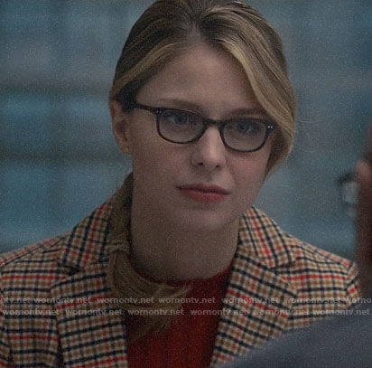 Kara's beige checked blazer on Supergirl