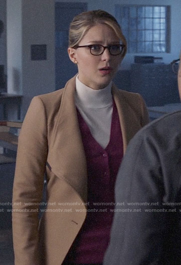 Kara's short camel coat on Supergirl