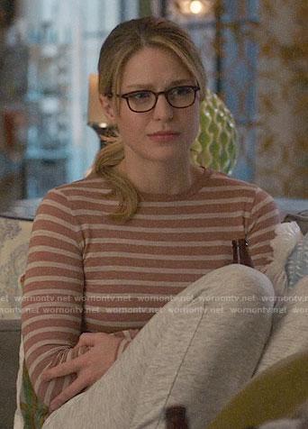Kara's brown striped long sleeve top on Supergirl