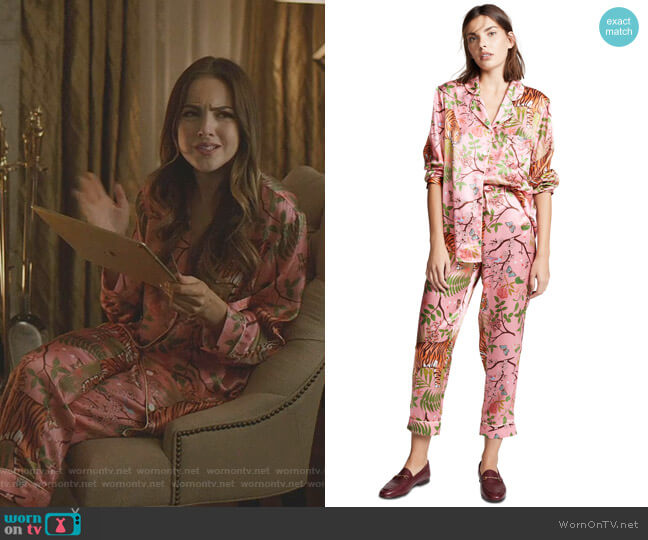 Tiger Blossom PJ Set by Karen Mabon worn by Fallon Carrington (Elizabeth Gillies) on Dynasty