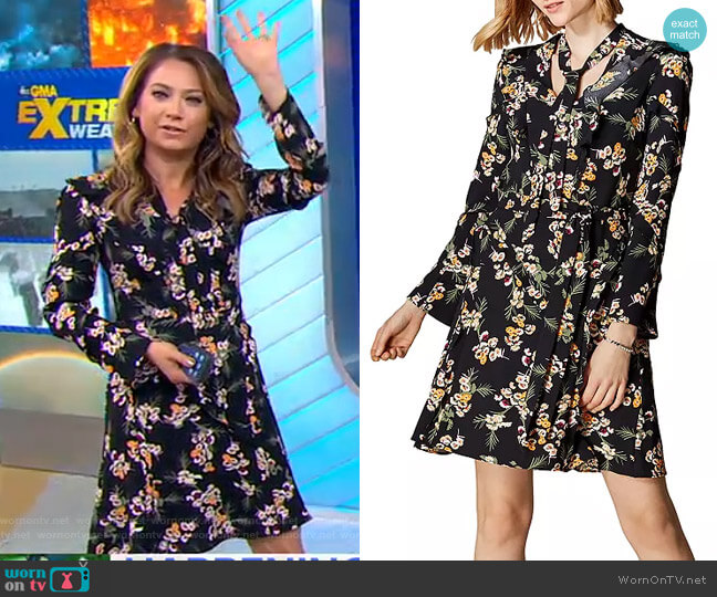 Daisy Print Tie-Neck Dress by Karen Millen worn by Ginger Zee  on Good Morning America
