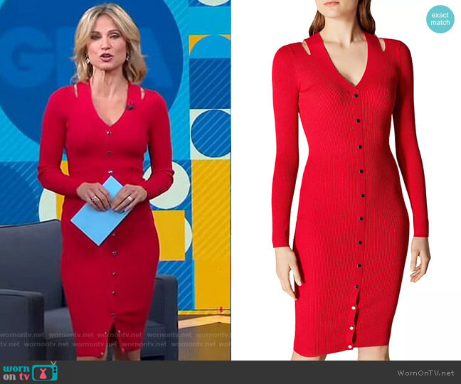Snap Detail Rib-Knit Dress by Karen Millen worn by Amy Robach  on Good Morning America