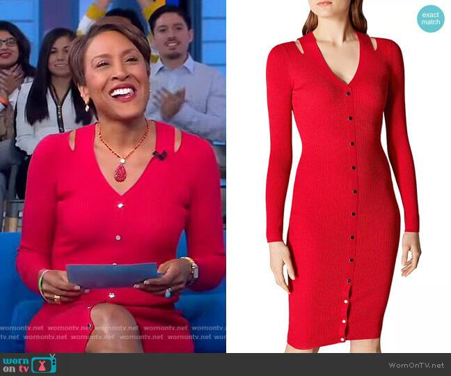 Snap Detail Rib-Knit Dress by Karen Millen worn by Robin Roberts  on Good Morning America