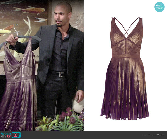 Karen Millen Metallic Pleated Dress worn by Hilary Curtis (Mishael Morgan) on The Young & the Restless